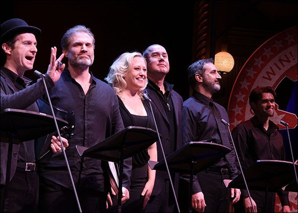 with Dennis O'Hare,  Marc Kudisch, Merwin Foard, Ken Krugman and Chris Peluso (L-R) Assassins Reunion, Roundabout Theatre Company's Benefit Concert, Studio 54
